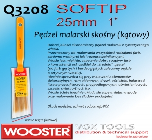 Q3208 AS SofTip 25mm  1 pędzel malarski skośny